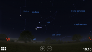 Screenshot from Stellarium showing the conjunction of Venus and Jupiter.